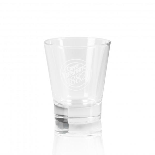 Caffè Vergnano Espressoglas mit weißem Logo Aufdruck