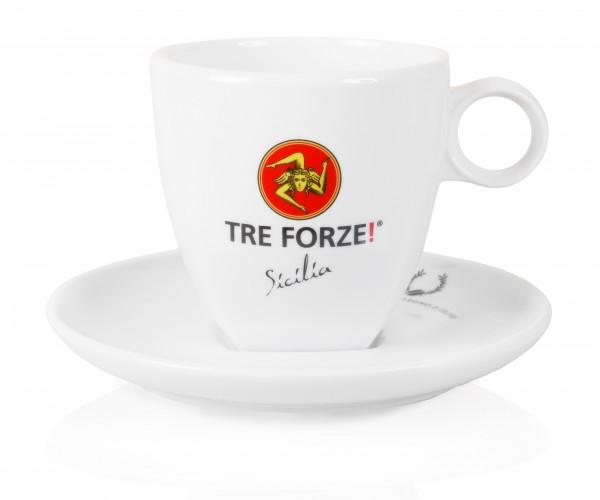 Tre Forze Milchkaffeetasse mit Unterteller