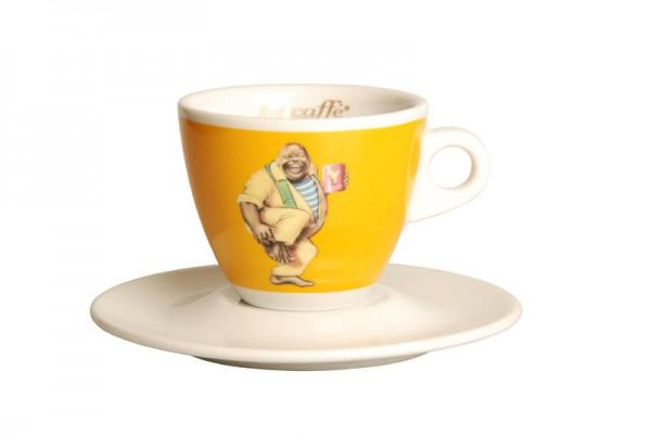 Lucaffe Tasse für Cappuccino gelb - Logo Classico